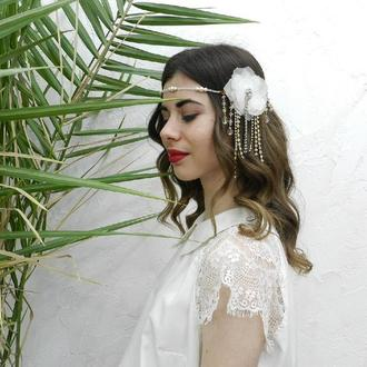 Весільна прикраса для зачіски , квіткова тіара в стилі Гетсбі, кришталевий вінок