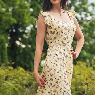 Цветочное платье макси из штапеля