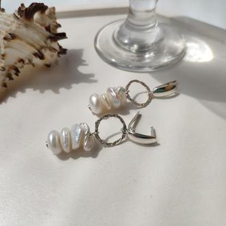 Серебряные серьги с натуральными жемчужинами Кеши, Длинные летние бохо серьги