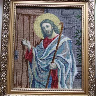 Картина Икона вышитая бисером Иисус Христос стучится в дверь