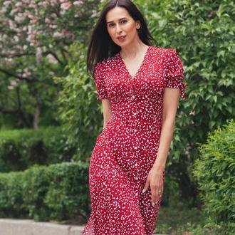 Платье- халатик из штапеля (хлопок) красного цвета