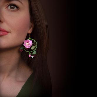 """Серьги кольца с цветами из полимерной глины """"Тюльпаны"""""""