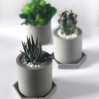 Бетонний горщик 8*8 см для квітів сукулентів кактусів Т1 / Бетонные кашпо из бетона для цветов Т1