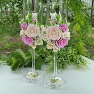 """Свадебные бокалы """"Мечта"""" в цвете пудра и розовый"""