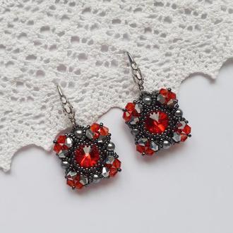 Серьги, серёжки, сережки, кульчики красные из бисера ручной работы