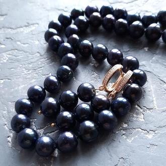 Комплект из натурального черного жемчуга ожерелье и серьги бусы из черного жемчуга серьги