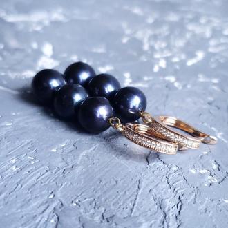 Серьги из натуральных черных жемчуга в позолоте серьги из черного жемчуга позолоченные