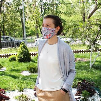 Многоразовая маска для лица - цветы, квіти, Многоразовые двухслойные маски Киев