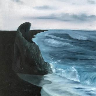 """Картина маслом на полотні """"Чорні береги і ванільний захід"""" 35х50 см"""