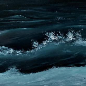 """Картина интерьерная маслом """"Ночной контраст волны"""" 30х50"""