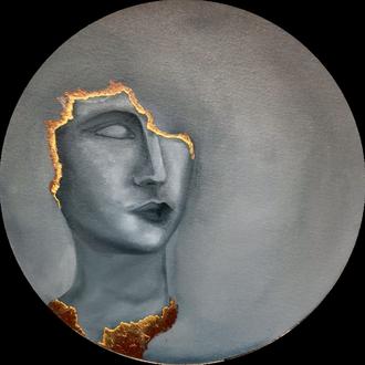 """Картина интерьерная маслом """"Золото Афин"""" 40 см, круг"""