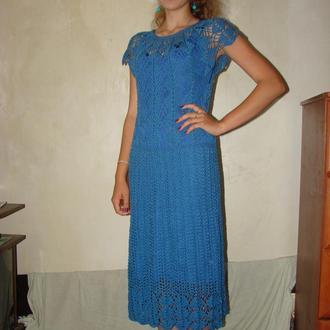 Платье синее крючком