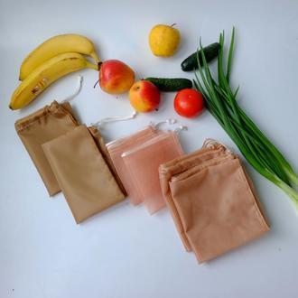 Набор эко мешочков 6 шт, эко торбочки, мешки для продуктов, еко торбинки zero west 02(5)