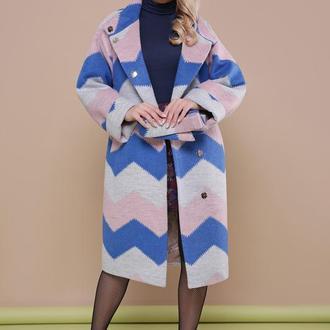 Цветное женское пальто оверсайз с рукавом реглан 44/46