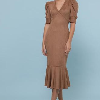 Бежевое женское платье из замши S M L XL