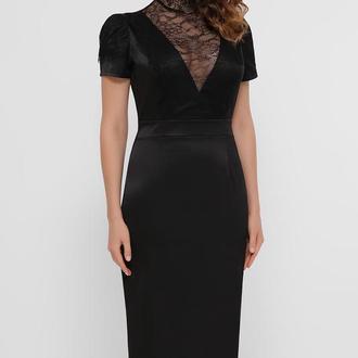 Женское черное платье из атласа с кружевом прямого кроя S, M, L, XL