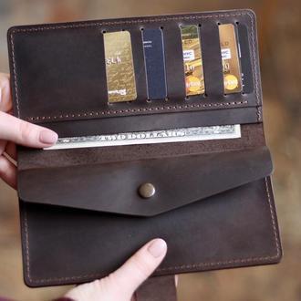 Стильный кожаный кошелек на полную купюру_большой коричневый кошелек