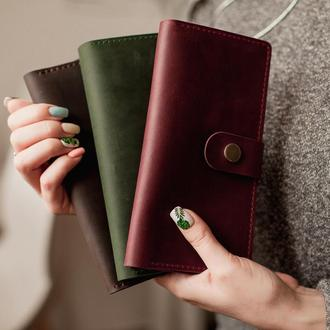 Стильный женский кошелек из винтажной кожи_вместительный женский кошелек
