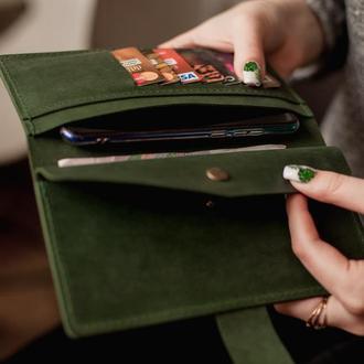 Кошелек женский кожаный на кнопке_кошелек двойного сложения из винтажной кожи