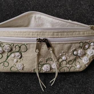 Сумка на талию, сумка на плече, сумка - бананка, сумка с вышивкой