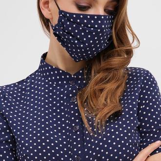Синяя тканевая маска для лица в горошек 2 шт