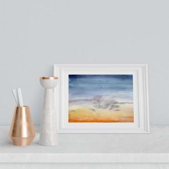 "Небо ""Cloudy Sunset"", акварель, А5"