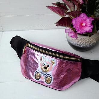 Сумка-бананка с мишкой, детская поясная сумка, барстка на пояс, нагурдная сумка 64