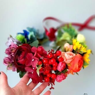 Украинский венок Разноцветный венок на голову с цветами