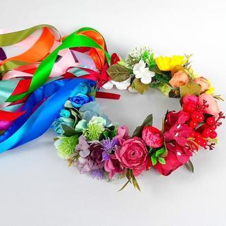 Украинский венок с лентами Разноцветный венок на голову с цветами