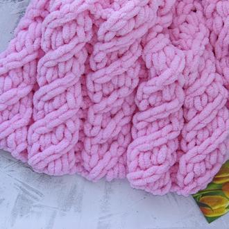 Плюшевий вязаний плед