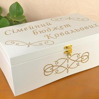 Купюрница деревяная под деньги семейный банк/бюджет с 7 отделениями на свадьбу
