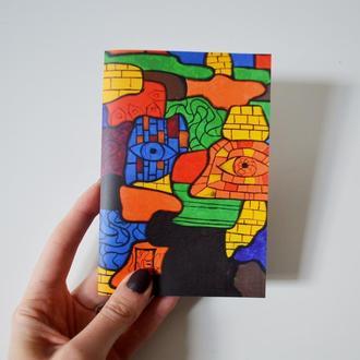 """Блокнот А6 с черными страницами и белая ручка. Авторская иллюстрация """"Портрет девушки №1"""""""