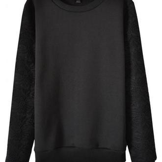 Черный свитшот с ажурными рукавами (без начеса)