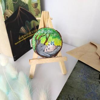 Деревянный декор магнит Тоторо, круглая картина, Тоторо арт аниме подарок