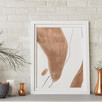 Абстракция 'Минималистический контур тела', mixed media, А4