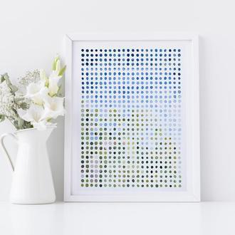 Абстракция акварельные точки 'Points of View No.1', 32 x 24 см