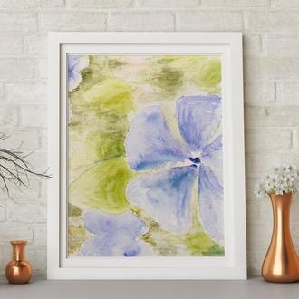 Цветочная абстракция акварелью 'Барвінок', 32 x 24 см