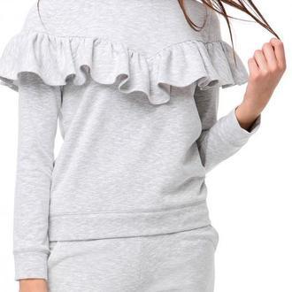 Светло-серый свитшот с воланом (костюм)