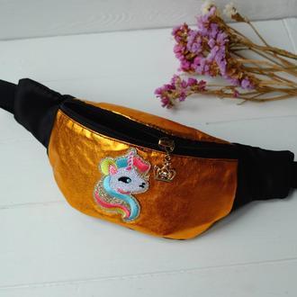 Сумка-бананка с единорогом, поясная блестящая сумка, детская барсетка