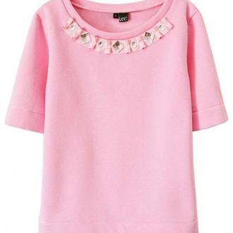 Розовый свитшот с декором (с начесом)