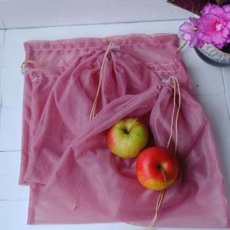 Набор эко мешочков из сетки 4 шт, эко торбочки, мешки для продуктов, еко мішки із сітки 02(5)