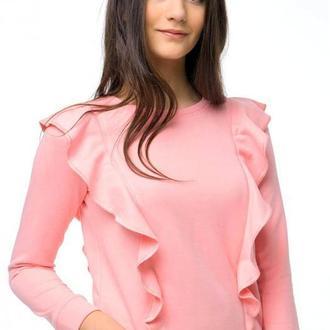 Розовый свитшот с воланами (без начеса)