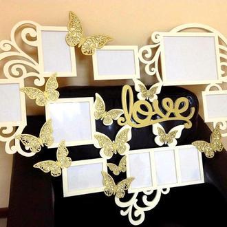 "Фото рамка ""Love""и ажурные бабочки 95х75 см. на 10 фото"