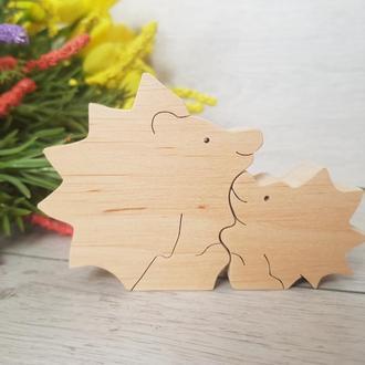 Деревянная игрушка пазл котенки ежики