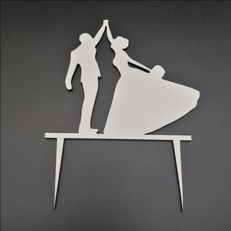 Деревянный топпер для свадебного торта, размер 14х14 см, арт. TPR-011