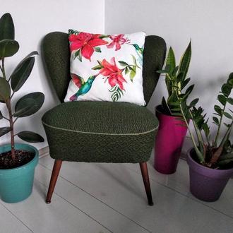 Интерьерная Boho Подушка из велюра-нубука «Тропические цветы и Колибри»