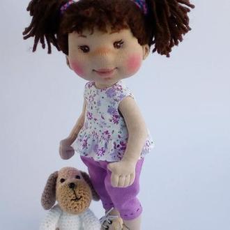 Текстильная кукла с собачкой. Текстильная кукла с собачкой.