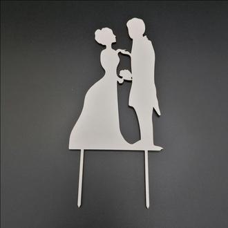 Деревянный топпер для свадебного торта, размер 15х9 см, арт. TPR-017