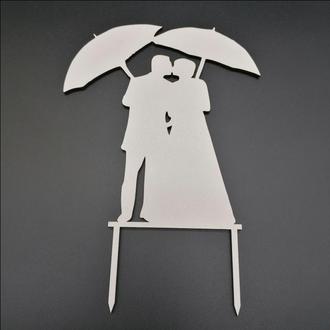 Деревянный топпер для свадебного торта, размер 15х14 см, арт. TPR-022