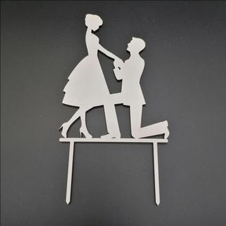 Деревянный топпер для свадебного торта, размер 14х11 см, арт. TPR-023